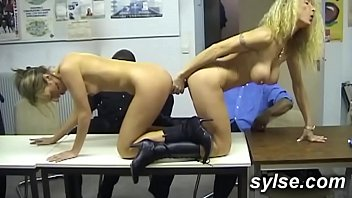 Amateur secretaries in heat at office