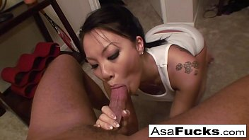Asa gives an amazing deep throat blow job