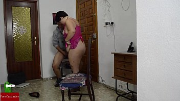 Fat woman on all fours is penetrated from behind
