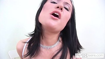 MY18TEENS - Brunette Cowgirl on Didlo and Anal Orgasm in White Lingerie