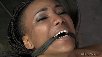 Whipping scenes on video femdom Flexible ebony pain slut in lezdom bondage
