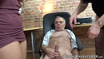 Old swinger couple has some fun with young dudes charming gf