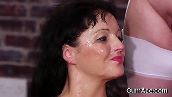 Flirty beauty gets cum load on her face swallowing all the semen