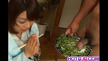 Spices in asian food Mitsu anno gets cock deepthroat and cum in mouth in food fetish