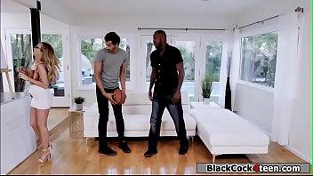 Hot tutor fucked by two big black dicks