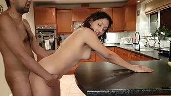 Sexy desi bhabhi pounded fucked hard on kitchen counter with cum on tits rough chudai POV Indian thumbnail