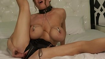 Rate my fake boobs Collared slut in nipple clamps pounds her pussy
