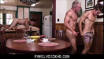 Gay family support group - Step dad and grandpa group sex with two twink step sons during family bonding time