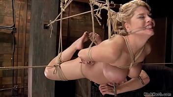 Curvy MILF gets toyed on hogtie