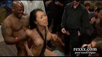 hottest brunette brutally gangbanged by huge cocks and strapon