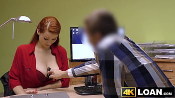 The office redhead - Redhaired babe shows off big tits before office hammering