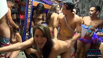 Dorm room orgy party with amateur teens sucking and fucking