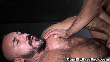 Cumload gay - Raw fucked nipple pierced bear jerks off cum