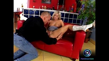 Bumtastic Angel Blonde Sits On A Massive Dong Fucking In The Couch