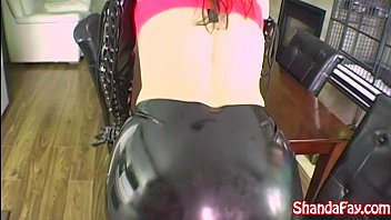Latex rubber surgical tubing Shanda fay jerks off hard cock with latex gloves