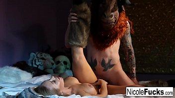 Hot Hunter Nicole Aniston captures a Minotaur and Milks his balls dr