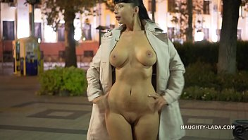 Exhibitionist nude outdoor Night flashing. walk naked in public.