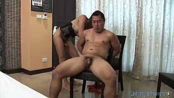 Threesome ladyboy bondage action