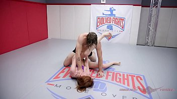 Maya Kendrick mixed wrestling fuck session on the mat
