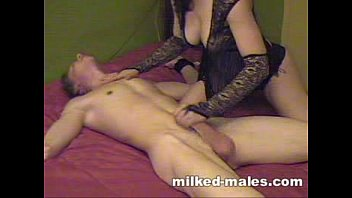 Edging handjob Gorgeous girl milking tied boy