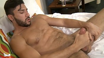 Which ear is the gay ear - Scott strips off his shorts rubs lube on his stiff cock
