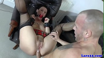 Cuffed milf brit analfucked while ballgagged