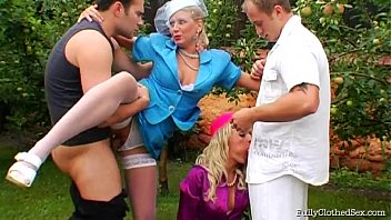 Fully clothed group sex - Two high class fully clothed hotties