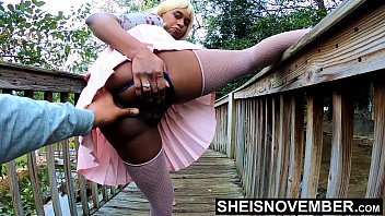 4k Boyfriend Pressured Girlfriend To Pussy Flash Outdoors Lifting Leg Up, Young Innocent Black Babe Msnovember Pull Panties To Side In Public Ass Upskirt Exhibition At Mini Golf  Sheisnovember