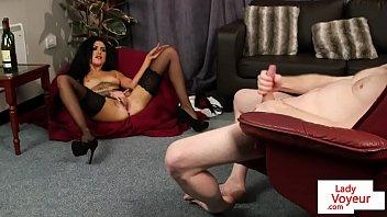 Streaming Video Stockinged british voyeur watches her sub tug - XLXX.video