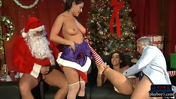 Naked santas helper Latina babes with big boobs fuck santa and his helper