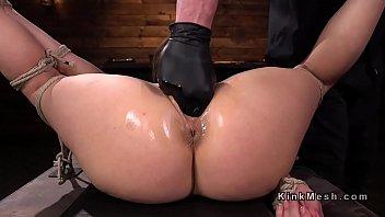 Punish bdsm Brunette slave gagged with dildo