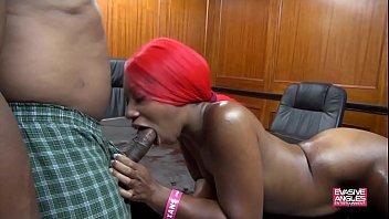 Slim Ebony Takes It In Both Holes Thumb