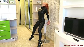 Latex free eto indicator tape - Busty girl in a suit of electrical tape and catsuit spanks herself in a tight ass