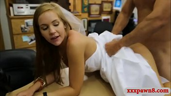 Woman in her wedding dress pounded hard by pawn dude