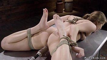 Hairy pussy tied blonde machine banged