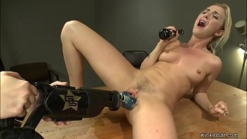 Blonde squirter fucks drill machine