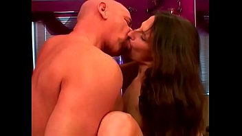 Cute brunette babe Lena Ramon caresses her bushy twat in the bathroom inviting her aged bald friend to have some hairy pie