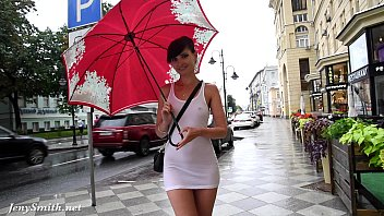 Jeny Smith white see through mini dress in public.