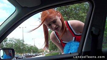 Redhead Teen Cheerleader Hitchhiker Fucks In Public