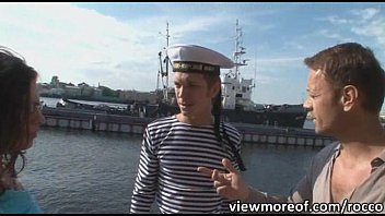 Teen girls Henessy and Grace invites a sailor boy to have threesome sex