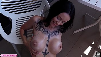 BIG TIT Big Thick ASS Step MOM Covered In Tattoos Gives Amazing Mature Experienced Sensual Oiled Up Handjob on the Balcony POV - Melody Radford