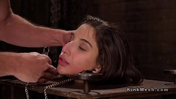 Bondage toys pillory - Brunette sub in pillory gets anal banged