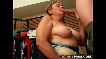 Older chubby - Chubby granny sucks young cock