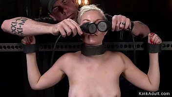 Blonde in stock made to ride Sybian