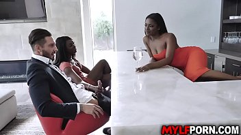 Sexy ebony MILF Ana Foxxx met her dauther Evi Reis boyfriend Quinton James. She likes him and ask her dauther if they could share his cock in a 3some.