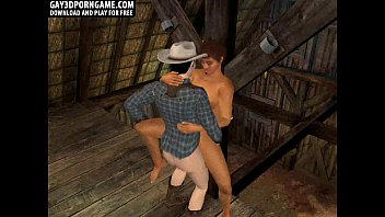 Horny 3D cartoon hunk getting fucked by a cowboy