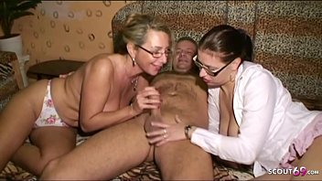 German Mom Teach Big Dick Step Daugther to Fuck in Threesome with older Guy