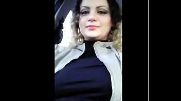 #Exhibitionist   #show #boobs in #car when #people #walk on #street
