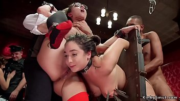 Interracial anal at bdsm orgy party