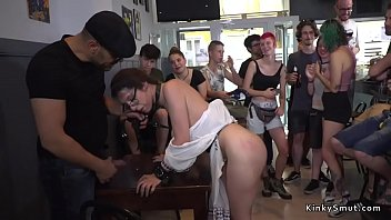 Public slave walked with dick on a stick